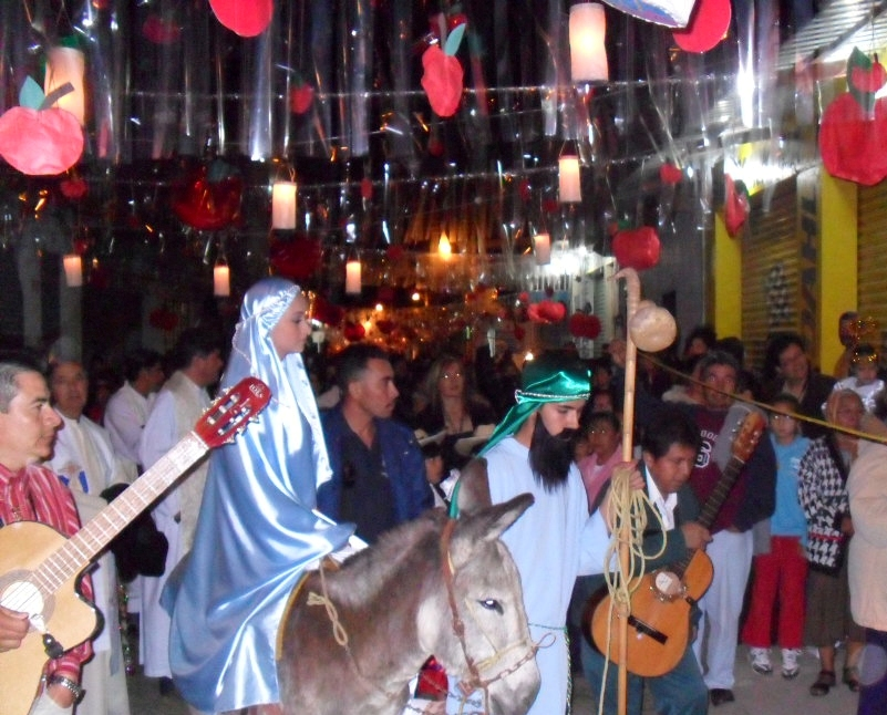 once inside the posada there is a party hosted inside with food drinks and a traditional piata in the shape of a christmas star which they must break - Posada Christmas
